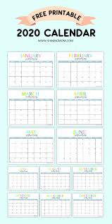 Small Printable 2020 Calendar Free Printable 2020 Calendar So Beautiful Colorful