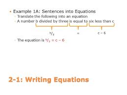 sentences into equations translate equations into 2