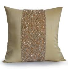 shop online for handmade beige silk throw pillow with beads and