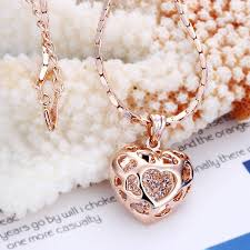 new 18k rose gold filled filigree heart pendant necklace swarovski crystal