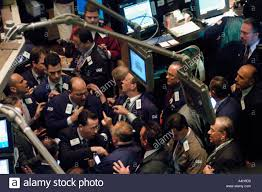 Stock Brokers Stockbrokers Busy On The Trading Floor Of The New York Stock