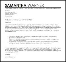 Best Solutions Of Quality Control Manager Cover Letter Sample On