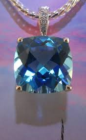 pendants blue topaz cushion cut and diamond 14k white gold pendant