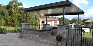 block outdoor kitchen with insulated roof