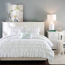 elegant romantic white ruffle bedding twin xl full queen girl comforter set with pillows