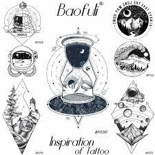 Baofuli 3d мужская временная геометрическая вселенная татуировка водостойкая холм