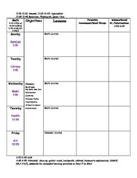 Blank Lesson Plan Templates Blank Kindergarten Lesson Plan Template By Cheryl Charbonneau Tpt