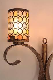 hollywood regency pair of huge gilt iron wall sconces with colorful glass shades spain