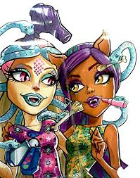 monster high scare and makeup viperine gorgon clawdeen wolf artwork
