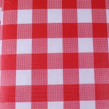 red gingham flannel back table cover
