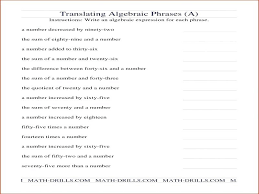 writing algebraic expressions worksheet worksheets variable one equations from word problems