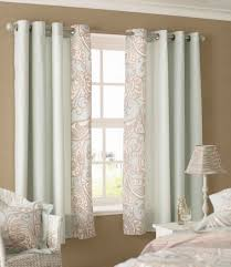 amazing sky blue color scheme bedroom curtains with white wood materials window frame design also beautiful