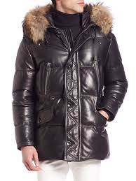 bally fur trimmed leather puffer jacket black men apparel coats jackets puffers quilted