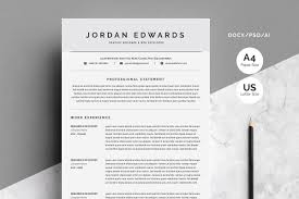 Clean Word Resume Template 4 Pages Resume Templates Creative Market
