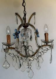 3 arm marie therese vintage chandelier with blue flowers