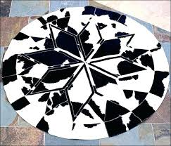white circle rug for round black pure cowhide leather patchwork and area white circle rug