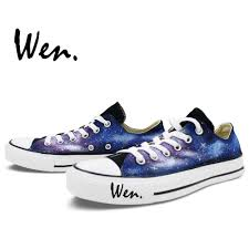 Galaxy Design Shoes Us 47 2 20 Off Wen Original Hand Painted Shoes Design Custom Blue Starlight Galaxy Nebula Black Low Top Man Womans Canvas Sneakers In Skateboarding