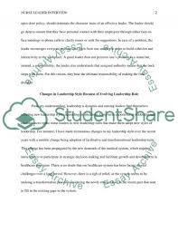 nurse leader interview essay example topics and well written related essays