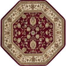 tayse rugs sensation red 8 ft traditional octagon area rug