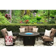 tortuga cast aluminum outdoor patio 6pc set loveseat 2 club swivel rocker 2 end table 50 inch round fire table series 4000 with sunbrella sesame linen