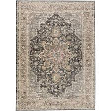 8 x 10 large gray and charcoal gray area rug grayson