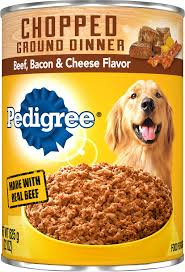 Pedigree Chopped Ground Dinner Beef Bacon Cheese Flavor Canned Dog Food 22 Oz Case Of 12