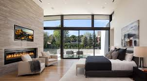 bedroom electric fireplace contemporary with windows night throughout plan 14