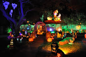 outdoor halloween lighting. Amazing Scary Outdoor Halloween Party Design With Lighting Of The Pumpkins And Ghosts In Trees That Are Very L