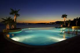 infinity pool night. Luxury Hotels In Split Infinity Pool Night Lights. Hotel Lobby Design. Boutique Design