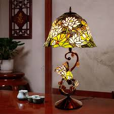 stained glass lamp mother son relation lotus pattern tiffany stained glass lamp oylxyij