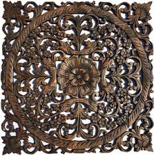 Square Metal Wall Decor Oriental Carved Wood Wall Plaquesunique Floral Wood Wall Art