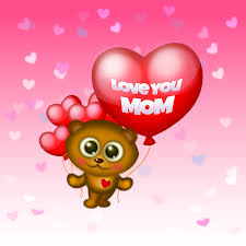 happy mother s day cute bear with i love you mom heart balloons vector ilration