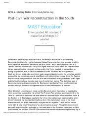 abraham lincoln and the struggle for union and emancipation dbq 3 pages post civil war reconstruction in the south ap u s history sample essays study