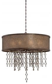 minka metropolitan ajourer 10 light french bronze drum shade pendant