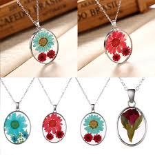 details about glass real dried flower pendant necklace women silver chain jewelry party gift
