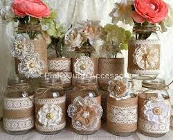 Decorating Mason Jars For Baby Shower 100x Natural Color Lace And Burlap Covered Mason Jar Vases Wedding 67