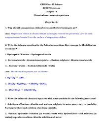 chemical reactions and equations the following page provides you ncert book solutions for class 10 science science class 10 notes in pdf are also