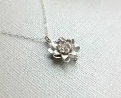 back in stock small silver lotus flower necklace simple everyday necklace sterling silver chain water lily flower pendant