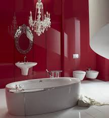 red bathroom decor ideas brown stained wooden drawer cabinet stainless steel rain shower curve white finish