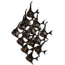 school of fish metal art sculpture