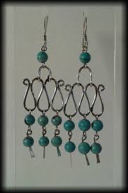 vintage 925 sterling silver and turquoise bead chandelier drop earrings