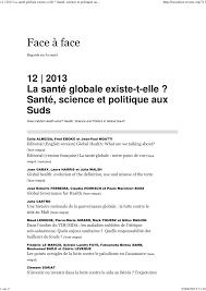 Pdf La Santé Globale Existe T Elle Santé Science Et Politique