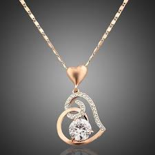 18k rose gold plated stellux crystals heart pendant necklace for valentine s day gift of love