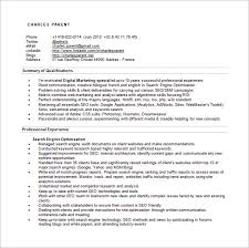 SEO Specialist Resume Word Free Download
