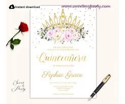 Invitation Quincenera Cream Pink Roses Quinceanera Invitation Printable Template 135