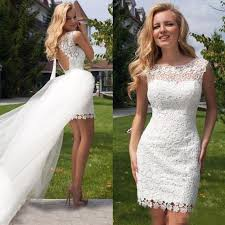 discount 2016 short wedding dresses with detachable over skirt