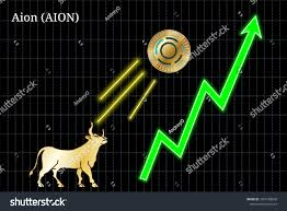 Gold Bull Throwing Aion Aion Cryptocurrency Stock Vector