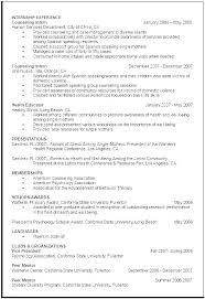curriculum vitae for internship cv template psychology castbuddy me