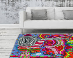 colorful rugs. Psychedelic Rug Artist Area Modern Industrial Decor Abstract Throw Rugs Colorful Unique