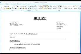 Resume Format On Word Extraordinary Magnificent Resume Format Word Templates Simple In For Freshers File